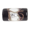 Glass Lamp Bead 16x8mm Tube Black/Crystal/Gold Silver Foiled